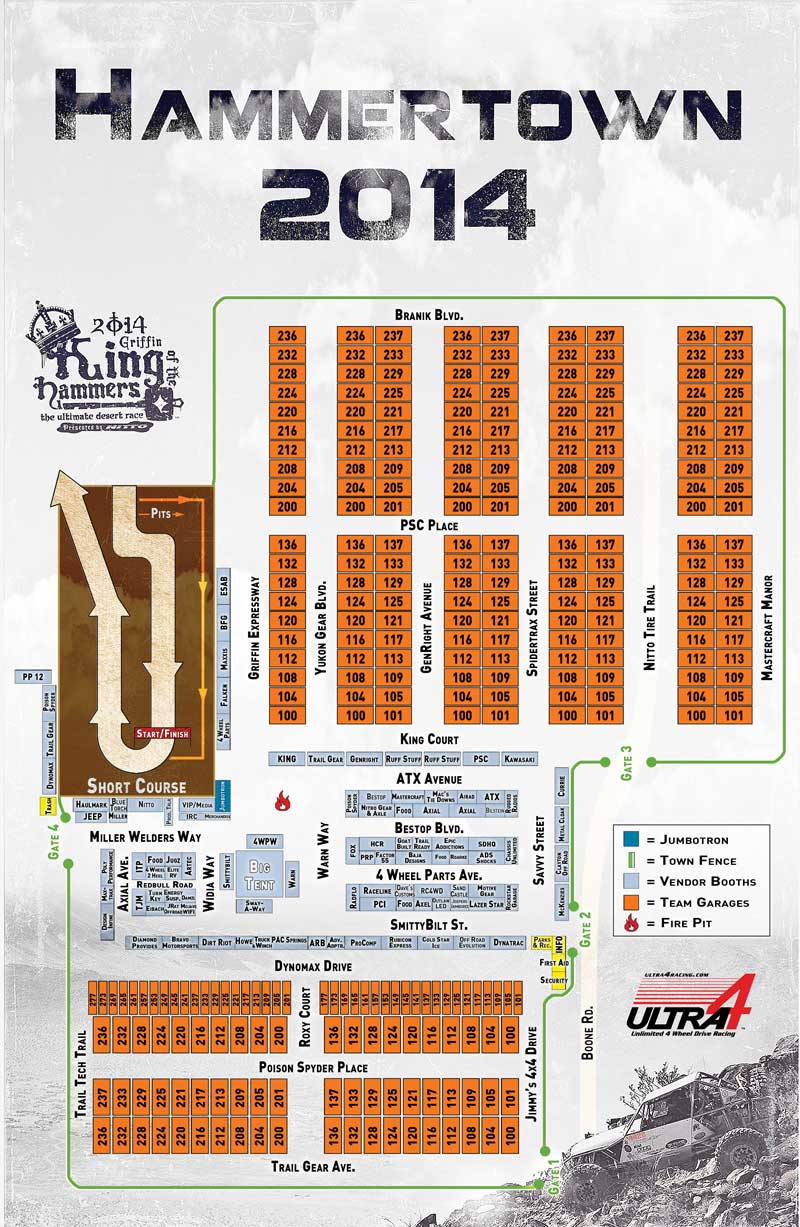 Hammertown Map at King of the Hammers 2014